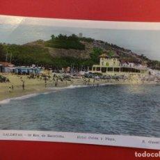 Postales: CALDETAS 38 KM. DE BARCELONA. HOTEL COLON Y PLAYA. Lote 144355126