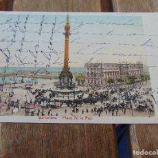 Postales: TARJETA POSTAL REVERSO SIN DIVIDIR BARCELONA PLAZA DE LA PAZ. Lote 146252770