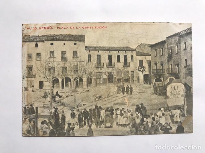 VERDU (LERIDA) POSTAL NO. 10, PLAZA DE LA CONSTITUCIÓN. EDITA: IMP.ELZEVIRIANA (H.1920?) (Postales - España - Cataluña Antigua (hasta 1939))