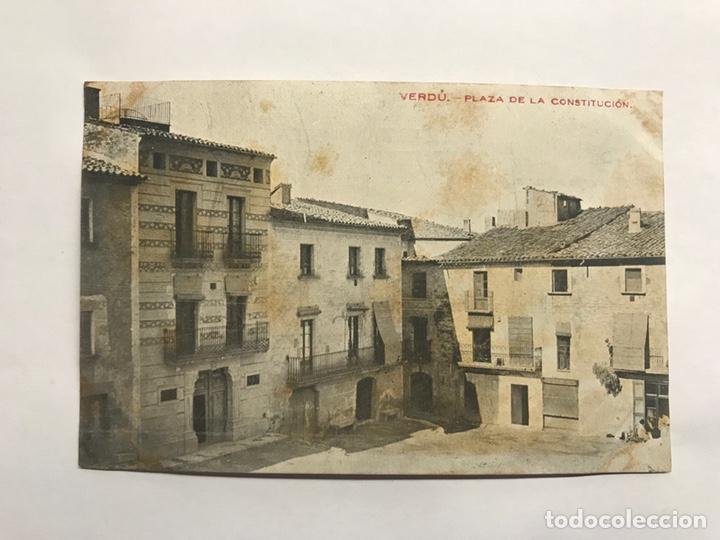 VERDU (LERIDA) POSTAL. PLAZA DE LA CONSTITUCIÓN. EDITA: IMP. ELZEVIRIANA (H.1910?) (Postales - España - Cataluña Antigua (hasta 1939))
