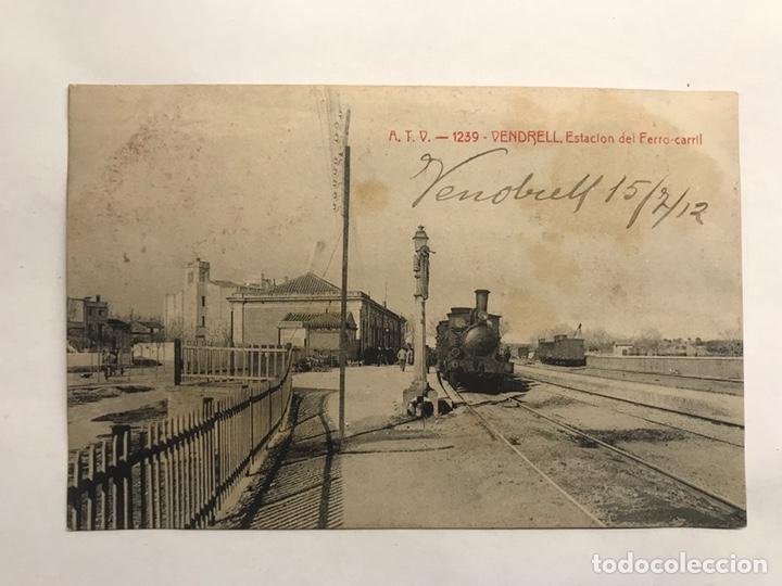 VENDRELL (TARRAGONA) POSTAL NO.1239, ESTACIÓN DEL FERRÓ-CARRIL. EDITA: A.T.V. (A.1912) (Postales - España - Cataluña Antigua (hasta 1939))