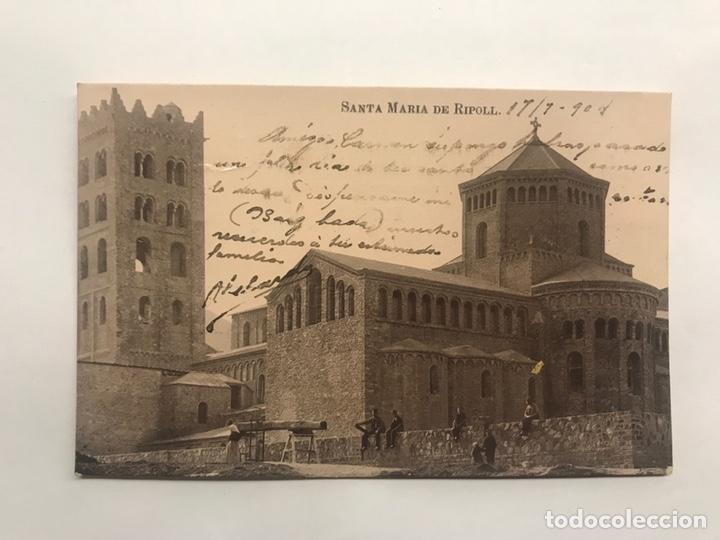 RIPOLL (GERONA) POSTAL. ANIMADA . MONASTERIO DE SANTA MARÍA. EDITA: TARJETA POSTAL (H.1904?) (Postales - España - Cataluña Antigua (hasta 1939))