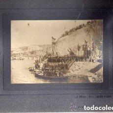Postales: FOTOGRAFIA DE LA INAUGURACION DE LAS OBRAS DEL PUERTO DE SAN FELIU DE GUIXOLS. 1903 J. MAURI FOTO. Lote 146895098