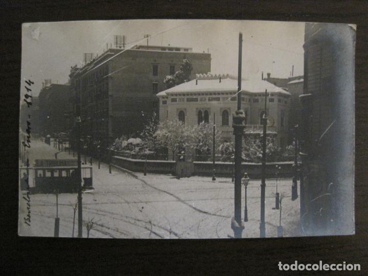 BARCELONA-NEVADA EN BARCELONA-TRANVIA-ENERO 1914-POSTAL FOTOGRAFICA ANTIGA-(56.234) (Postales - España - Cataluña Antigua (hasta 1939))