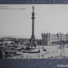 Postales: CATALUÑA BARCELONA MONUMENTO A COLON Y ADUANA POSTAL AÑO 1908. Lote 147968000