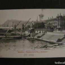 Postales: BARCELONA-ESCALERA DE LA PAZ I MONTJUICH-P.Z. 10687-REVERSO SIN DIVIDIR-POSTAL ANTIGA-(56.305). Lote 148079698