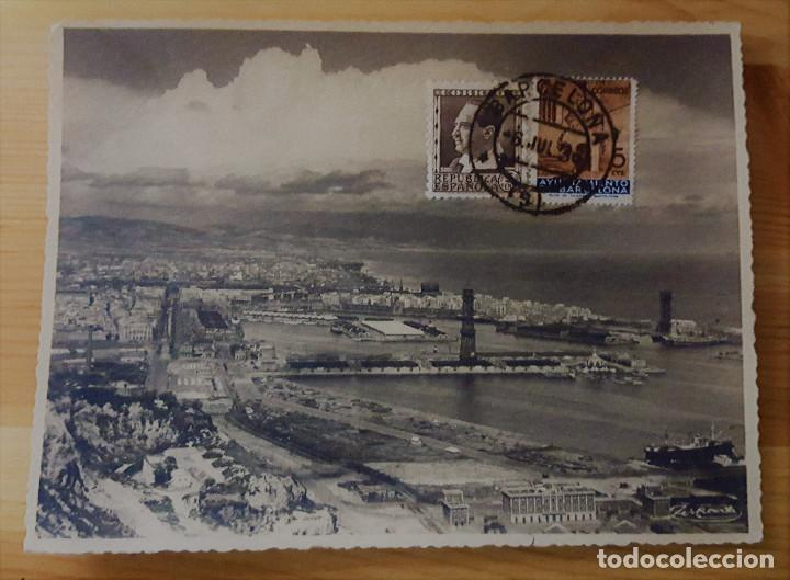 BARCELONA VISTA DEL PUERTO Nº2 - ED. A. ZERKOWITZ - SELLOS REPÚBLICA MATASELLOS BARCELONA 1936 (Postales - España - Cataluña Antigua (hasta 1939))