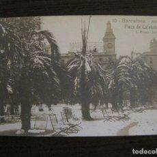 Postales: BARCELONA-NEVADA-PLAZA CATALUÑA-FOTOGRAFICA ROISIN-10-POSTAL ANTIGA-(56.409). Lote 148356530