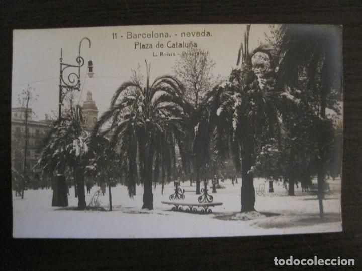 BARCELONA-NEVADA-PLAZA CATALUÑA-FOTOGRAFICA ROISIN-11-POSTAL ANTIGA-(56.410) (Postales - España - Cataluña Antigua (hasta 1939))