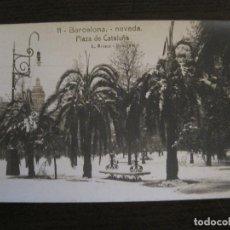 Postales: BARCELONA-NEVADA-PLAZA CATALUÑA-FOTOGRAFICA ROISIN-11-POSTAL ANTIGA-(56.410). Lote 148356630