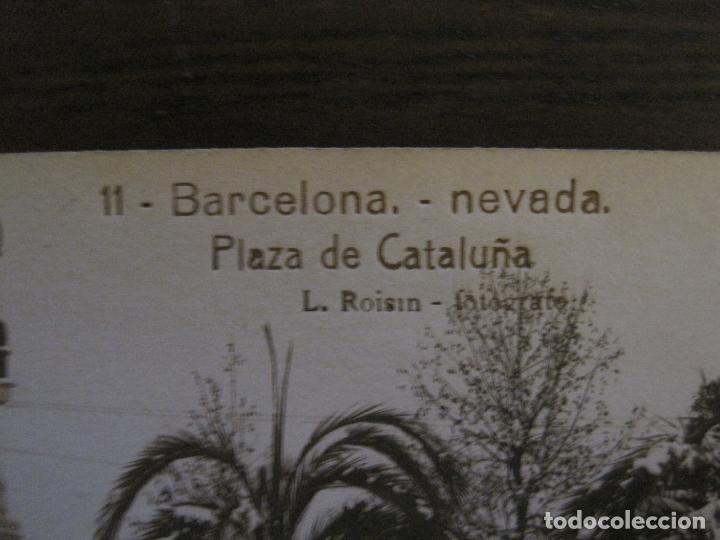 Postales: BARCELONA-NEVADA-PLAZA CATALUÑA-FOTOGRAFICA ROISIN-11-POSTAL ANTIGA-(56.410) - Foto 2 - 148356630