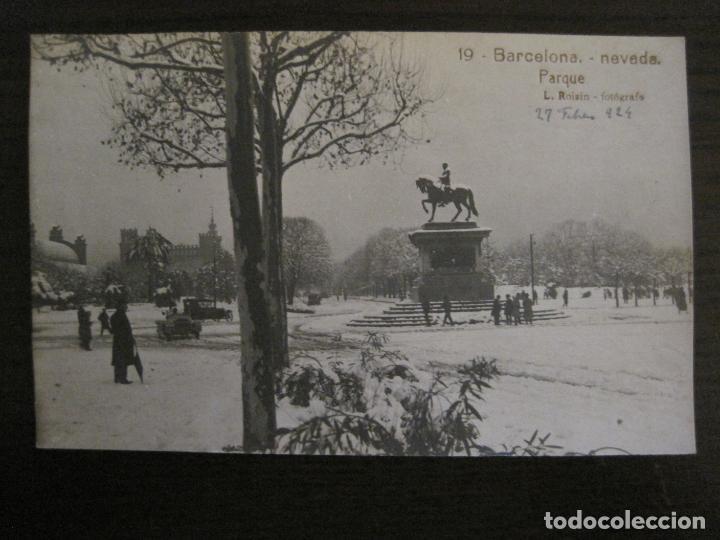 BARCELONA-NEVADA-PARQUE-FOTOGRAFICA ROISIN-19-POSTAL ANTIGA-(56.414) (Postales - España - Cataluña Antigua (hasta 1939))