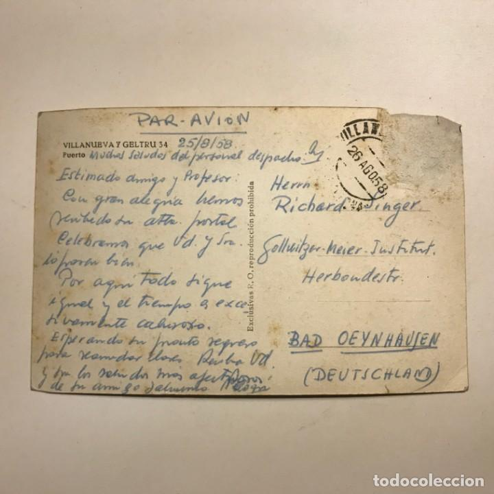 Postales: 1958 Villanueva y la Geltrú 34 Puerto. 25 Agosto 58 Paspartú 18x13. Vilanova i la Geltrú - Foto 3 - 148624238