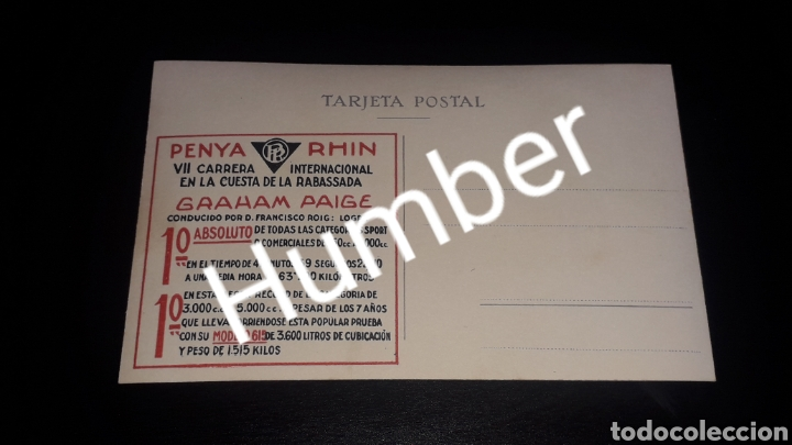 Postales: Postal Graham Paige, Francisco Roig, VII Carrera Cuesta Rabassada, Collserola Barcelona, año 1929. - Foto 2 - 150527518