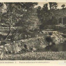 Postales: SAN CLEMENTE SASEBAS. FUENTE SULFUROSA Y LAVADERO PÚBLICO. F. CASAS. ESCRITA. 9X14 CM. BUEN ESTADO. . Lote 150575454