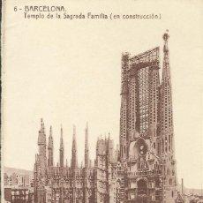 Postales: BARCELONA. TEMPLO DE LA SAGRADA FAMÍLIA (EN CONSTRUCCIÓN). FOTOTIPIA THOMAS. SIN CIRCULAR. 14X9 CM.. Lote 150581586