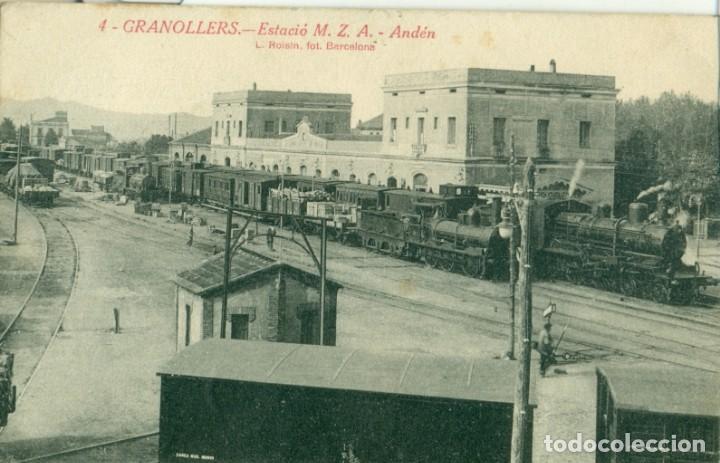 GRANOLLERS ESTACIÓN FERROCARRIL M.Z.A. ANDEN. CIRCULADA EN 1928 (Postales - España - Cataluña Antigua (hasta 1939))