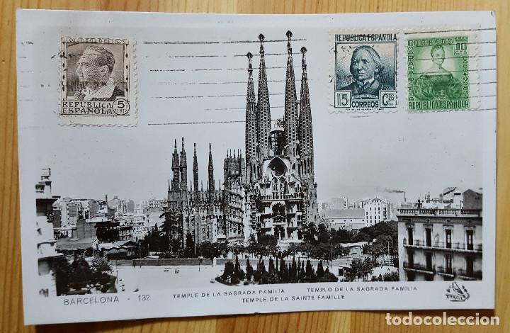 BARCELONA TEMPLO DE LA SAGRADA FAMILIA Nº 132 1939 ED. ORIOL ENVIADA A ITALIA PRECIOSA (Postales - España - Cataluña Antigua (hasta 1939))