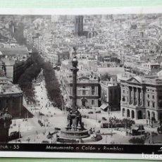 Postales: BARCELONA. 55 MONUMENTO A COLÓN Y RAMBLAS. ZERKOWITZ. USADA. BLANCO/NEGRO. Lote 152131953