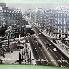 Postales: BARCELONA. 524 CALLE DE ARAGÓN Y PLAZA LETAMENDI. ANIMADA. ZERKOWITZ. NUEVA. BLANCO/NEGRO. Lote 152132241