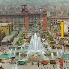 Postales: BARCELONA, PARQUE DE MONTJUICH, SURTIDOR GIGANTE. Lote 153856150