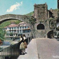 Postales: CAMPRODON, PUENTE ROMANO Y CALLE SAN ROQUE, GERONA. Lote 156560026