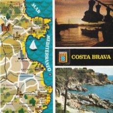 Postales: COSTA BRAVA, ATARDECER EN EL PUERTO, ACANTILADOS, GERONA. Lote 156560230