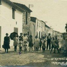 Postales: GIRONA. SANT ANTONI DE CALONGE. CARRER DE SANT ANTONI. FOTOGRÁFICA MUY RARA.CIRCULADA 1921. Lote 158141878