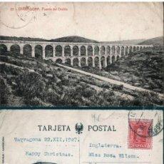 Postales: POSTAL 20 TARRAGONA PUENTE DEL DIABLO THOMAS, CON TAMPON DE ANTONIO F. MATHEU ALONSO INTERPRETE . Lote 161831318