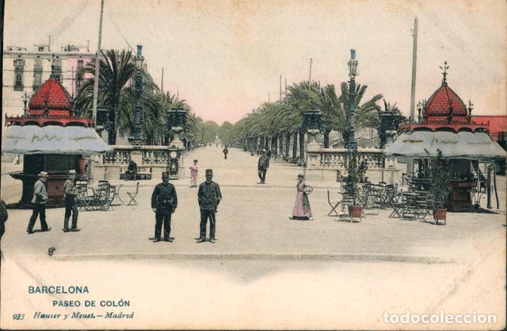 POSTAL BARCELONA PASEO DE COLON 933 HAUSER Y MENET (Postales - España - Cataluña Antigua (hasta 1939))