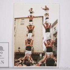 Postales: POSTAL CASTELLERS - XIQUETS DE REUS. LA COLLA CASTELLERA DEL BAIX CAMP - PILAR DE CINC. Lote 164522146