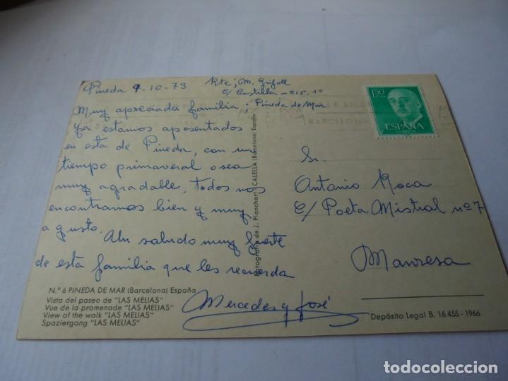 Postales: magnifica antigua postal pineda de mar vista del paseo de las melias - Foto 2 - 164710194