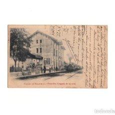 Postales: CALDAS DE MALAVELLA.- ESTACIÓN DEL FERROCARRIL. LLEGADA DE UN TREN.. Lote 164711838