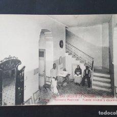Postales: SAN VICENTE DE CALDERS TARRAGONA BELLAMAR HOTEL BALNEARIO MEDICINAL FUENTE MINERAL ESCALERA INTERIOR. Lote 165637878