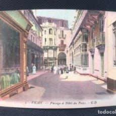 Postales: POSTAL VICHY PASSAGE ET HOTEL DES POSTES COLOREADA FRANCIA GUSTAVE DUPUY . Lote 166626822