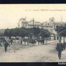 Postales: POSTAL DE GIRONA: PLAÇA DEL MARQUÈS DE CAMPS. PLAZA (ATV 552 BIS). Lote 166940856