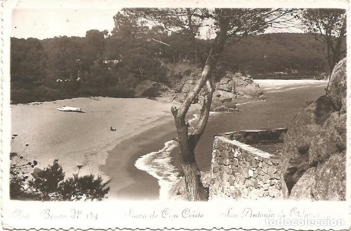 SAN ANTONIO DE CALONGE - PLAYA DE CAN CRISTO - FOTODOCUMENTAL - CIRCULADA 1956 (Postales - España - Cataluña Moderna (desde 1940))
