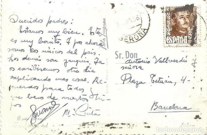 Postales: SAN ANTONIO DE CALONGE - PLAYA DE CAN CRISTO - FOTODOCUMENTAL - CIRCULADA 1956 - Foto 2 - 167436236