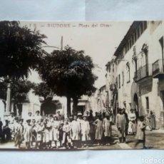 Postales: POSTAL FOTOGRÁFICA CATALUÑA RIUDOMS PLAZA DEL OLMO. Lote 167779788