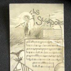 Postales: POSTAL CATALANISTA. ELS SEGADORS. LETRA E HIMNO CATALÁN. . Lote 169225692