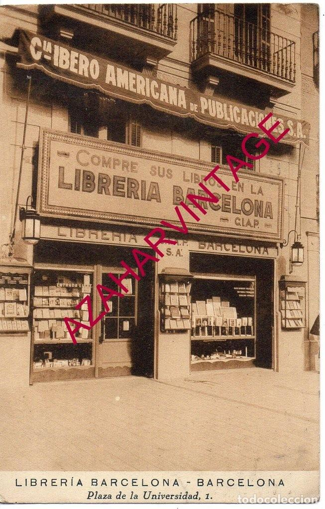 POSTAL COMERCIO, PUBLICIDAD LIBRERIA BARCELONA , ORIGINAL (Postales - España - Cataluña Antigua (hasta 1939))