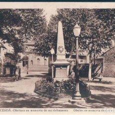 Postales: POSTAL PUIGCERDA - OBELISCO EN MEMORIA DE SUS DEFENSORES - ROISIN. Lote 171593083