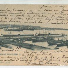 Postales: BARCELONA, 1903. PANORAMA DE BARCELONA IV. 68 HAUSER Y MENET. ESCRITA. Lote 172718347