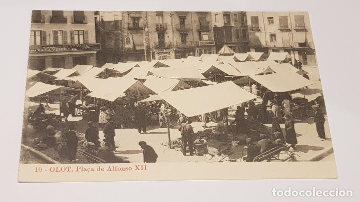 OLOT - 10 / PLAÇA DE ALFONSO XII / EDIT: J. ANTIGA / SIN CIRCULAR. DE LUJO. (Postales - España - Cataluña Antigua (hasta 1939))