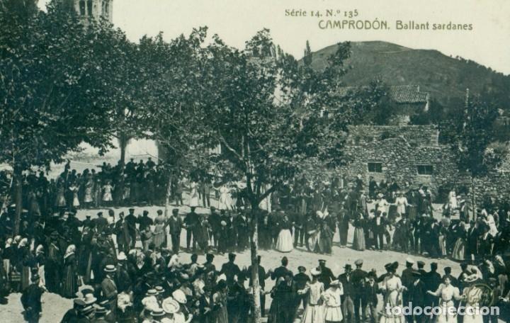 GIRONA CAMPRODON. BALLANT SARDANES CIRCULADA EN 1909. (Postales - España - Cataluña Antigua (hasta 1939))