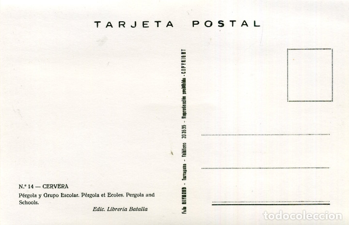 Postales: CERVERA - PÉRGOLA Y GRUPO ESCOLAR (FOTO RAYMOND) - Foto 2 - 176279353