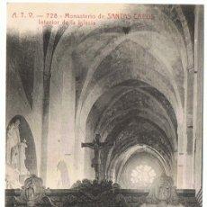 Postales: POSTAL MONASTERIO DE SANTAS CREUS INTERIOR DE LA IGLESIA A.T.V Nº 728 . Lote 176352205
