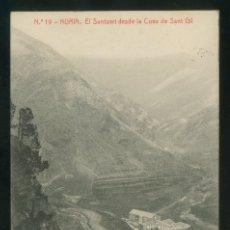 Postales: NURIA. *EL SANTUARI DESDE LA COVA DE SANT GIL* ED. THOMAS Nº 19. CIRCULADA. . Lote 176671059
