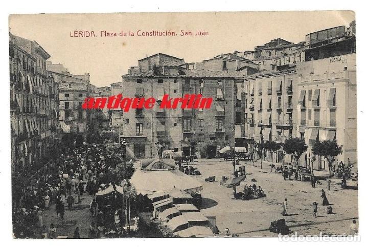 LERIDA .- PLAZA DE LA CONSTITUCION , SAN JUAN .- FOTOTIPIA THOMAS (Postales - España - Cataluña Antigua (hasta 1939))