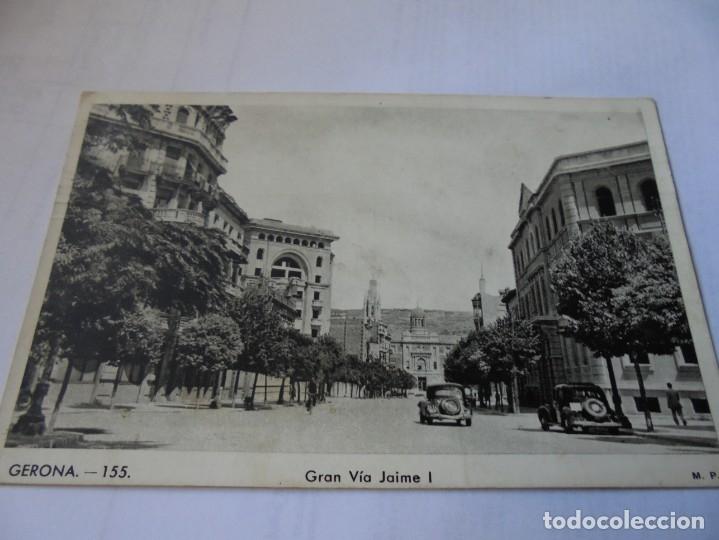 MAGNIFICA ANTIGUA POSTAL GERONA GRAN VIA JAIME I (Postales - España - Cataluña Moderna (desde 1940))